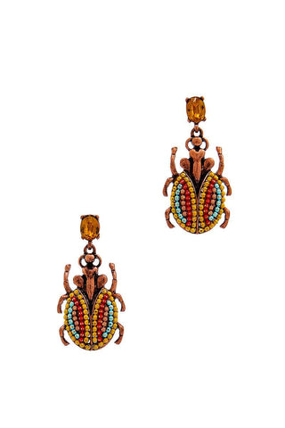 Fashion Beaded Bug Shape Drop Earring