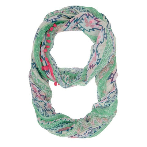 Mara Pink Cultural Print Infinity Scarf With Pom Poms