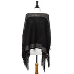 Black Lightweight Knit Fringe Poncho