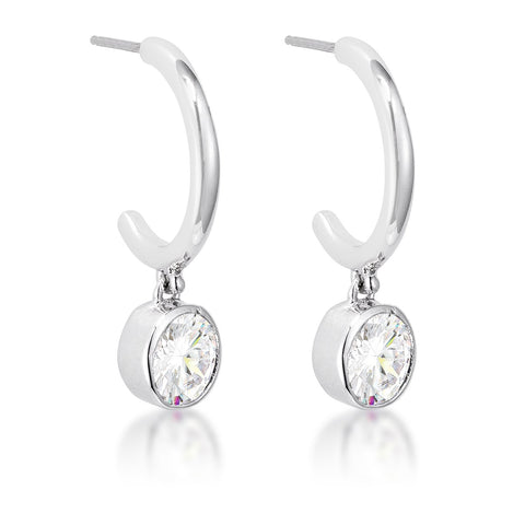 7mm Cz Rhodium Plated Drop Hooplet Earrings