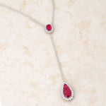 Lara 5.8ct Ruby CZ Rhodium Classic Drop Lariat Necklace