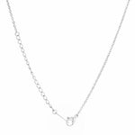 Kina 0.015ct CZ Rhodium Stainless Steel Key Drop Necklace