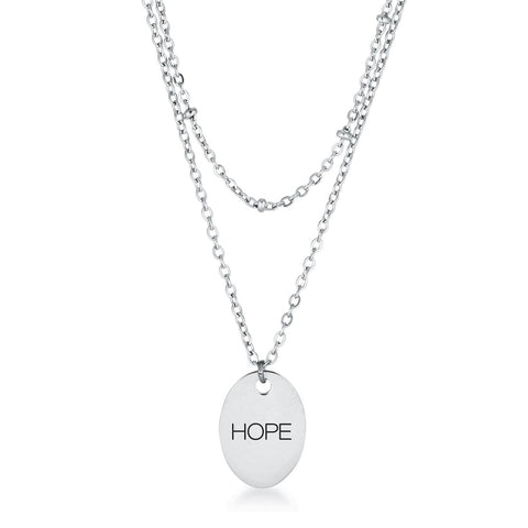Stainless Steel Double Chain HOPE Necklace