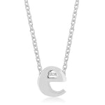 Rhodium Plated Finish Initial E Pendant