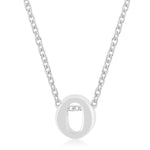 Rhodium Plated Finish Initial O Pendant