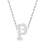 Rhodium Plated Finish Initial P Pendant