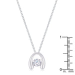 .85Ct Rhodium Plated Contemporary Horseshoe Dancing CZ Pendant