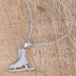 Delicate .4Ct Rhodium Plated Ice Skate Pendant
