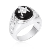 Rhodium Plated Onyx Mens Ring