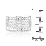 4 Row Rhodium Cubic Zirconia Cocktail Ring