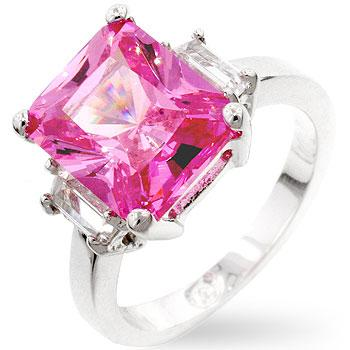 Pink Triplet Engagement Ring