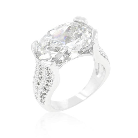 Oval Triplet Cubic Zirconia Ring
