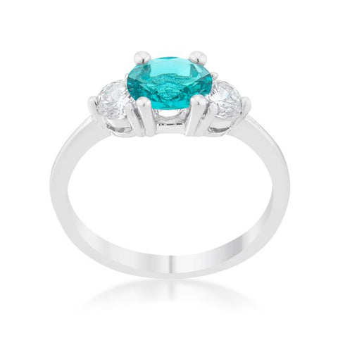 Mariah 1.2ct CZ Rhodium Aqua Simple Classic Ring