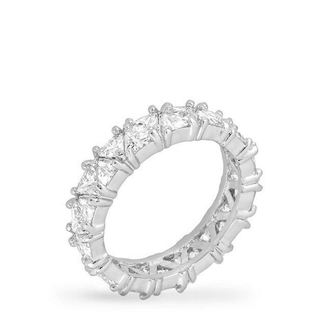 Rhodium Plated Trillion Eternity Band