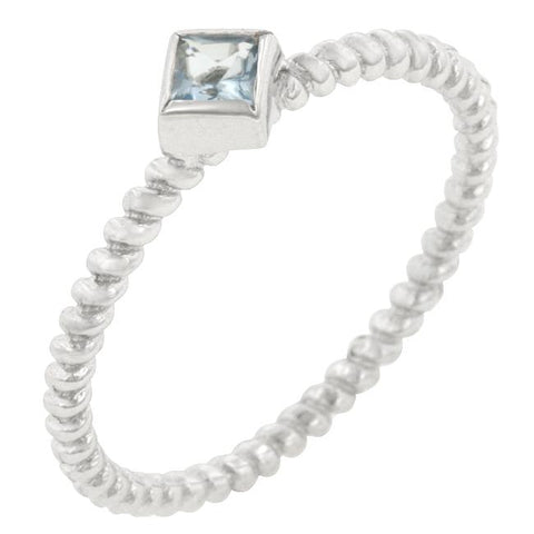 Twisted Petite Blue Topaz Solitaire Ring
