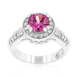 Fuchsia Halo Engagement Ring