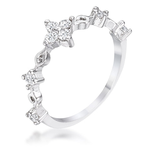 .24Ct Rhodium Plated Clear CZ Mini Floral Half Eternity Stackable Band