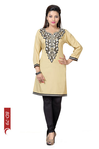 Briefly Brilliant Beige Short Tunic With Machine Embroidery BD79