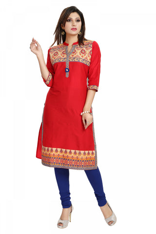 Captivating Red Luscious Cotton Silk Kurti For Everyday Wear MM110