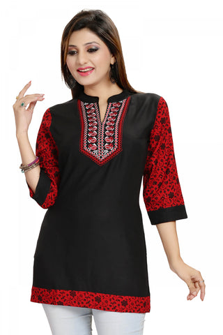 Beautiful Best Black Rayon Cotton Casual Short Kurta MM120