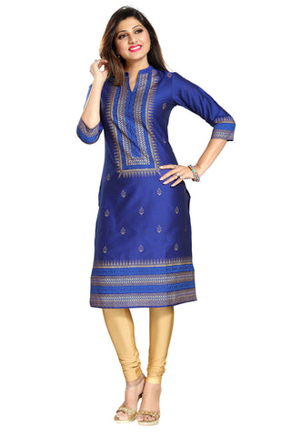 A La Mode Luxury Cotton Silk Tunic In Royal Blue And Gold MM140