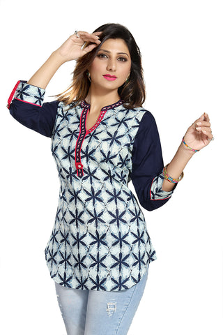 Casual Craze Blue And White Cotton Printed Short Tunic Top For Women MM143