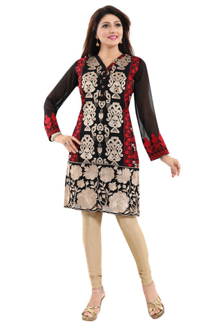 Black Fine Georgette Short Tunic Top With Red And Beige Machine Embroidery AN01