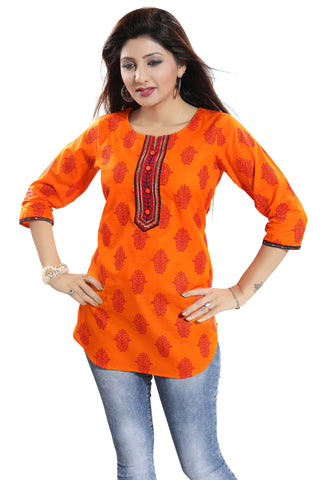 Awesome Orange Cotton Printed Short Kurti With Apple Bottom Silhouette For Women MM205