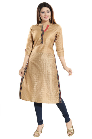 Bright Beige Cotton Silk Tunic For Semi Formal Occasions MM210