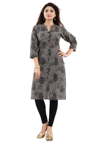Beauteous Brown Jute Cotton Daily Wear Kurti With Block Print NK41