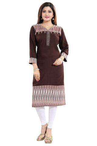 Befitting Brown Rayon Cotton Short Designer Tunic With Modern Accessories SC1078