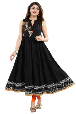 Black Rayon Printed Anarkali Style Sleeveless Tunic With Floral Patchwork MM224