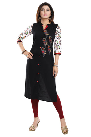 Bold In Black Rayon Cotton Long Straight Fit Tunic With Embroidery MM245