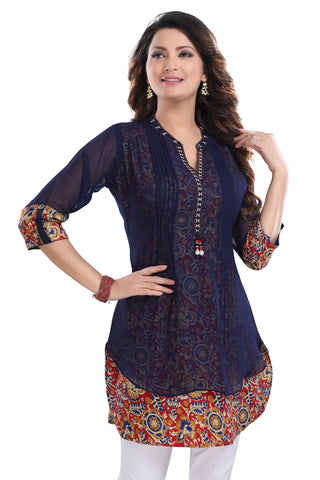 Beautilicious Navy Blue Fine Georgette Party Wear Layered Short Tunic SC1040R