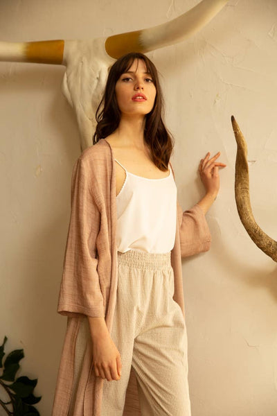Dusty Rose Open-front Duster