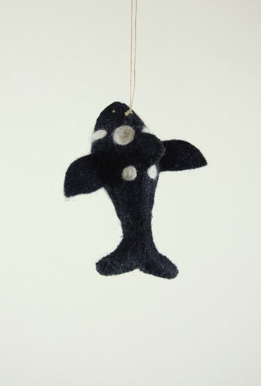 Felted Orca Ornament