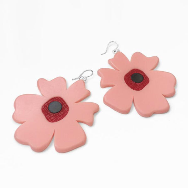 Big Poppy Earrings-Pink