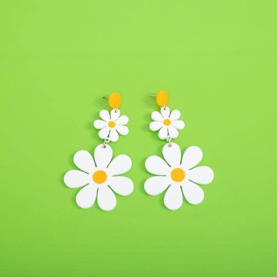 Double Daisy Hanging Stud Earring