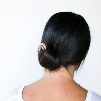 Silver Classic Bun Pin with Tan Leather Top