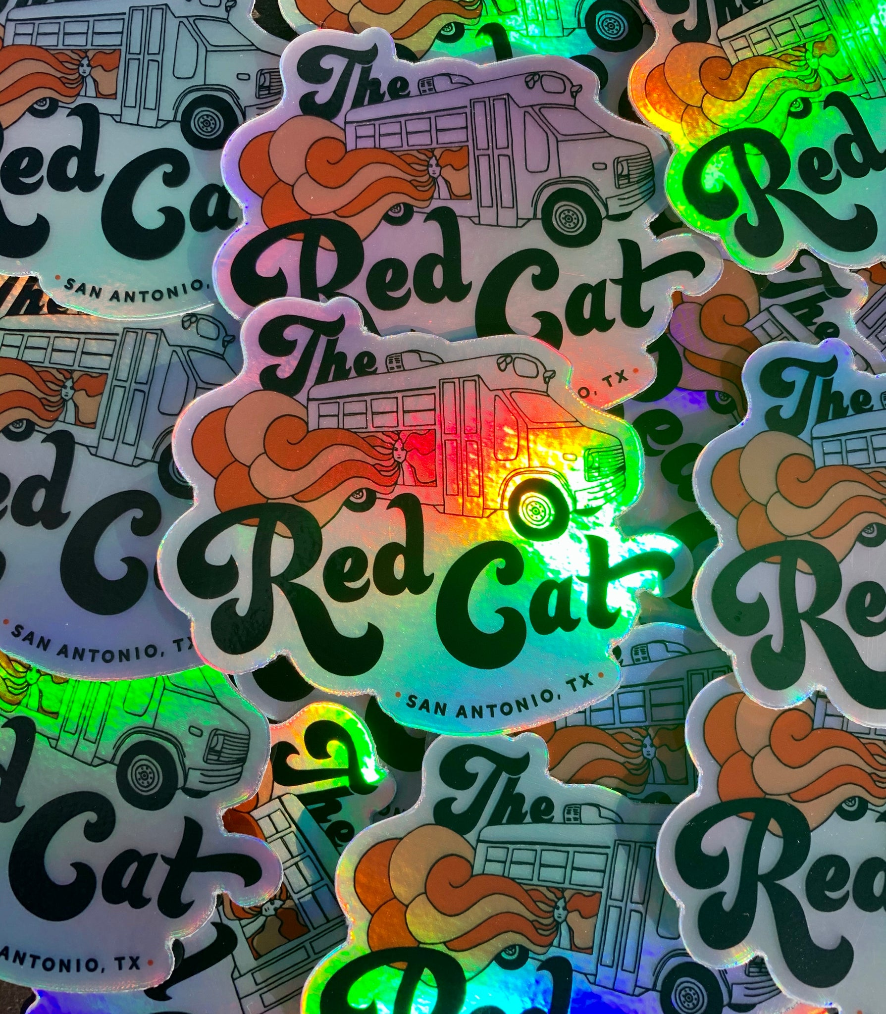 Red Cat Bus Stickers - Holographic