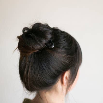 Brass Classic Bun Pin with Black Leather Top