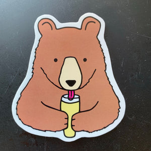 Beer Drinking Bear Sticker