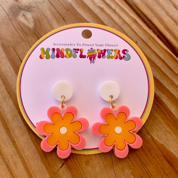Candy Daisy Hanging Stud - Pink/Yellow/White