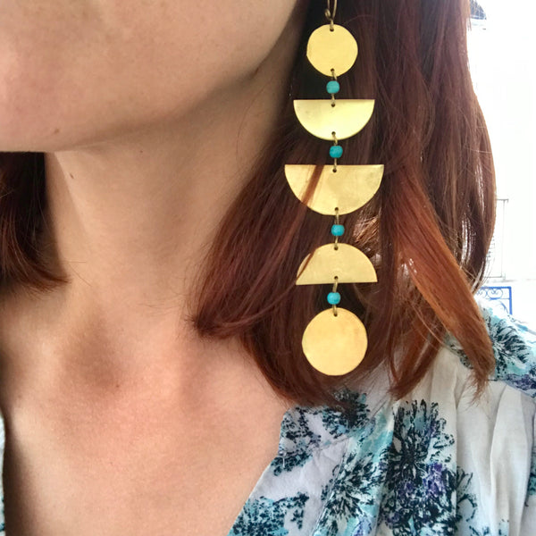 Moon Phase Earrings - Brass + Turquoise