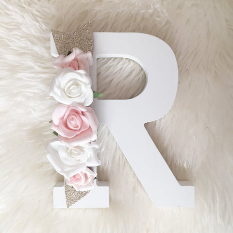 Wooden floral letters