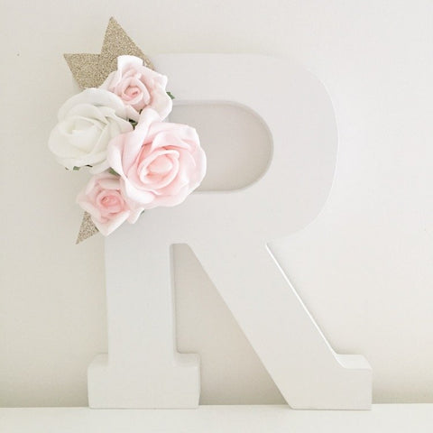 Wooden floral letters 3-4 flowers