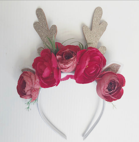 Reindeer red floral  headband