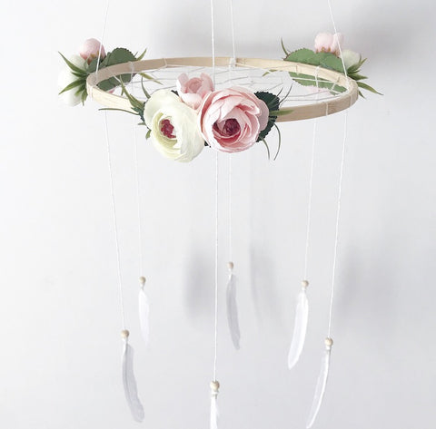 Floral dream catcher mobile