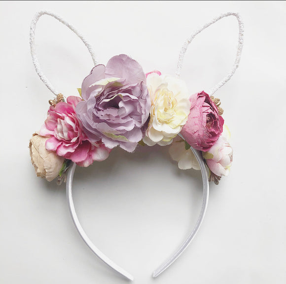Floral white ear bunny headband