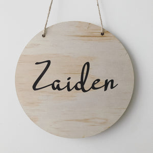 Personalised name plaque